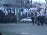 Demonstracja przed gmachem sądu, gdzie odbywał się proces Julii Timoszenko