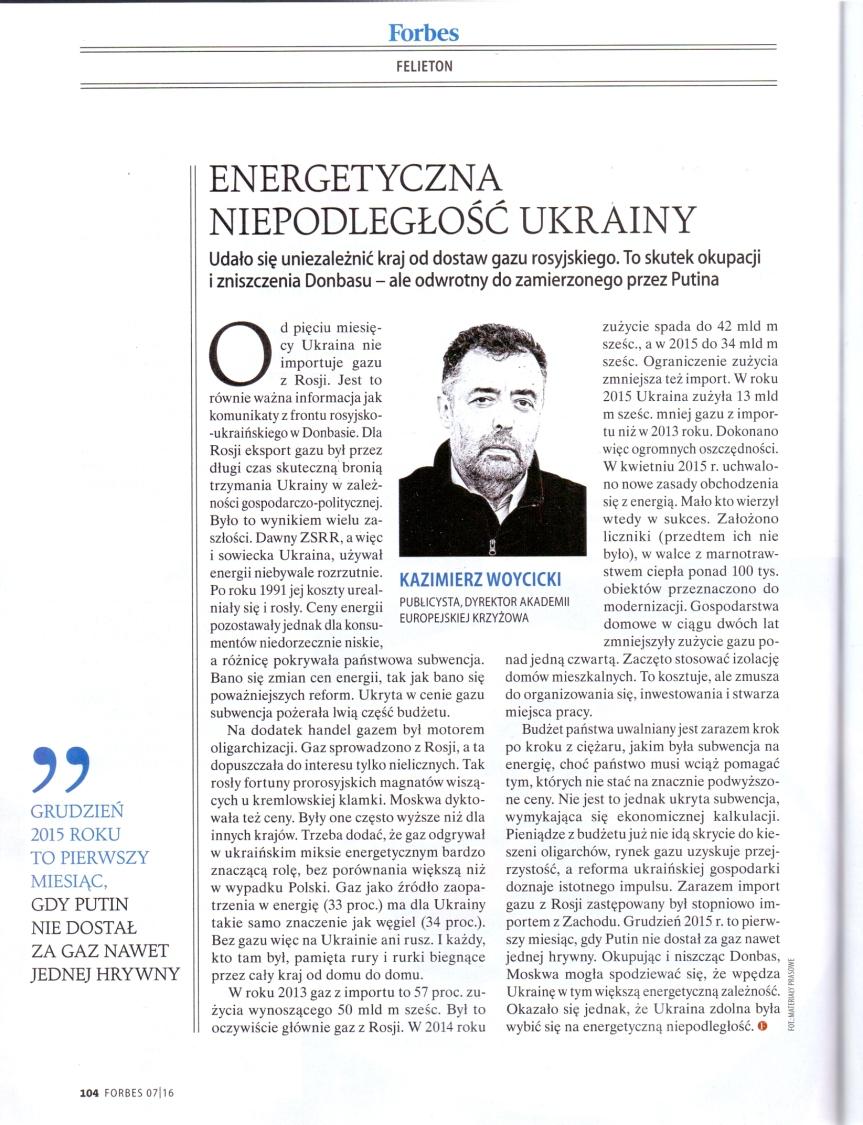 Energetyczna niepodległość Ukrainy